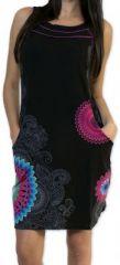 Belle robe d'été courte tendance et ethnique Noire Larae 273535