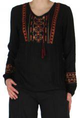 Blouse Femme à manches longues Ethnique et Fluide Kasiak Noire 279283