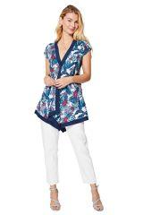 Blouse femme asymétrique chic en coton à imprimé fleurs bohème Magnhild
