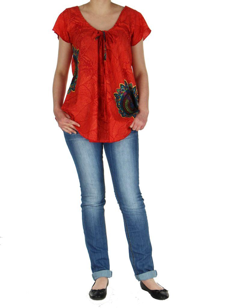 Blouse femme ethnique rouge Nilla 268567
