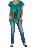 Blouse femme ethnique turquoise Nilla 268571