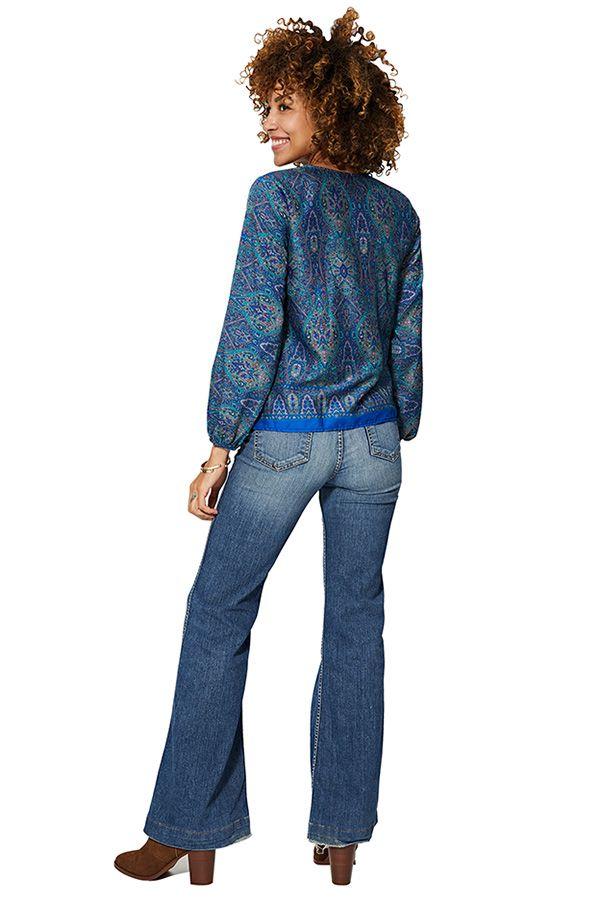 Blouse fluide femme à manches longues bleue ethnique Athena