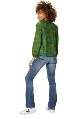 Blouse fluide femme à manches longues vert chic Lilly