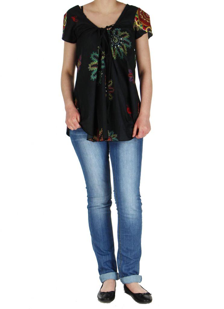 Blouse noire colorée pour femme Nabilly 269364