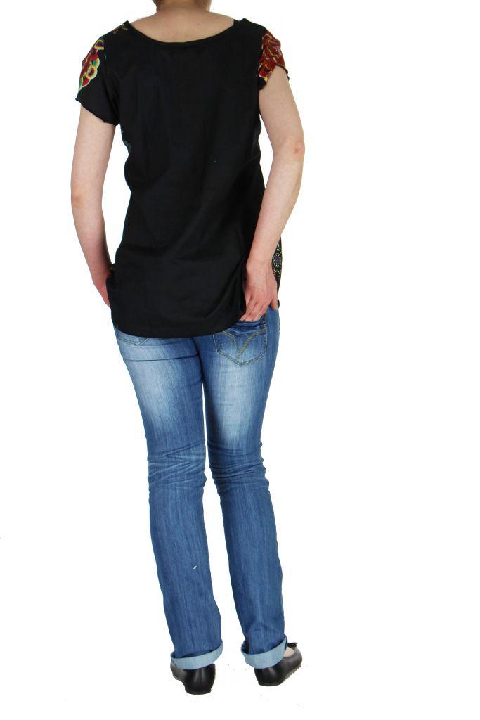 Blouse noire colorée pour femme Nabilly