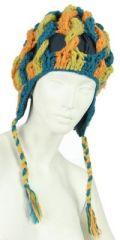 Bonnet en laine bleu/orange/anis doublé polaire 247844