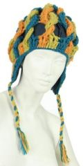 Bonnet en laine bleu/orange/anis doublé polaire 247844