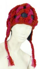 Bonnet en laine fushia/orange/rouge doublé polaire 247841