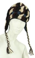 Bonnet en laine noir/blanc/marron doublé polaire 247845