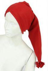 Bonnet long en polaire rouge 248059
