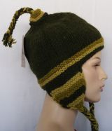 Bonnet peruvien rayé en laine doublé polaire 303421