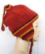 Bonnet peruvien rayé en laine doublé polaire 303423