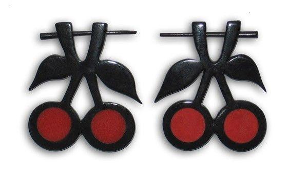 Boucle d\'oreille en corne cerise rouge 242308