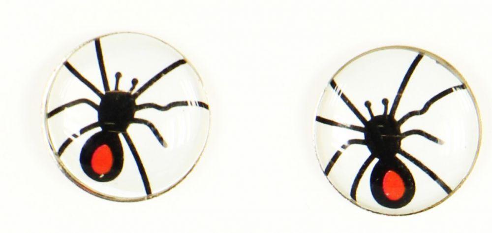 Boucles d\'oreilles clou araigné noir fond blanc 249366