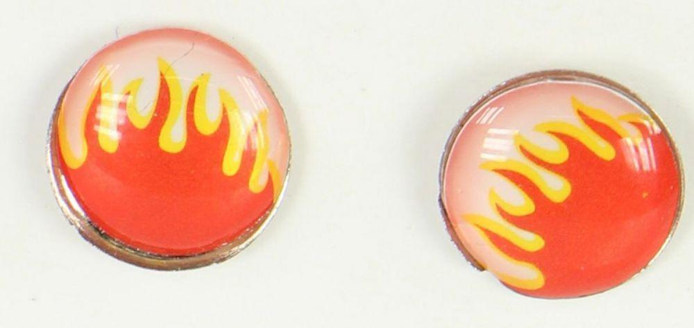 Boucles d\'oreilles clou flamme rouge et jaune 249373