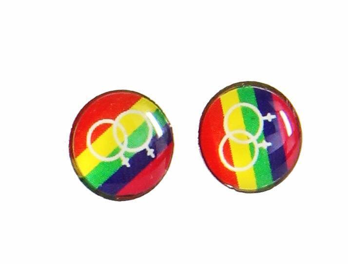 Boucles d\'oreilles clou logo homosexualité multicolor 246415