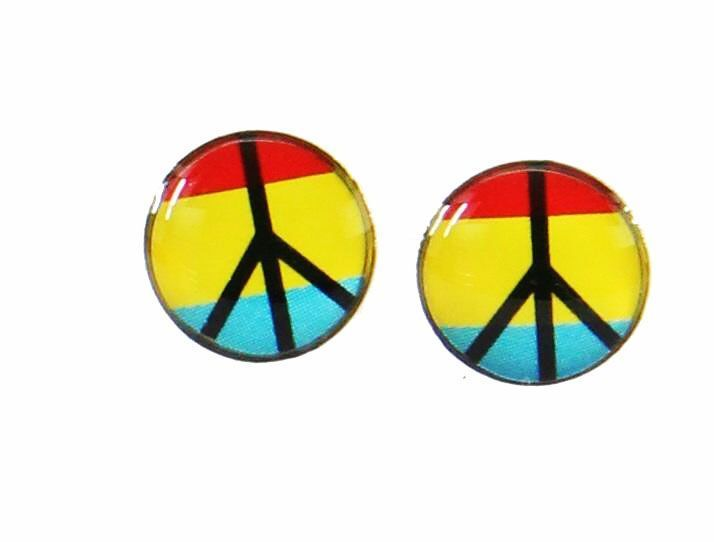 Boucles d\'oreilles clou peace and love rouge, jaune, bleu 246407