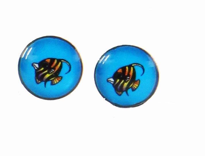 Boucles d\'oreilles clou poisson bleu 246366