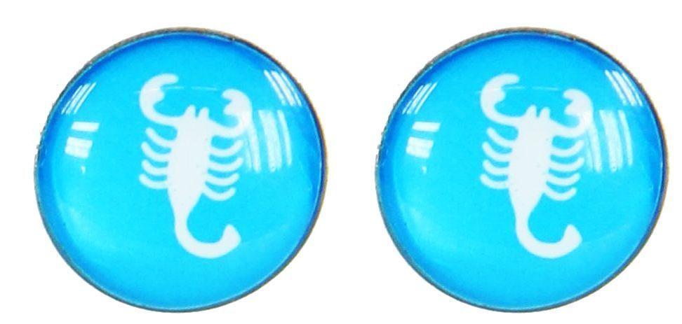 Boucles d\'oreilles clou scorpion blanc fond bleu 249384