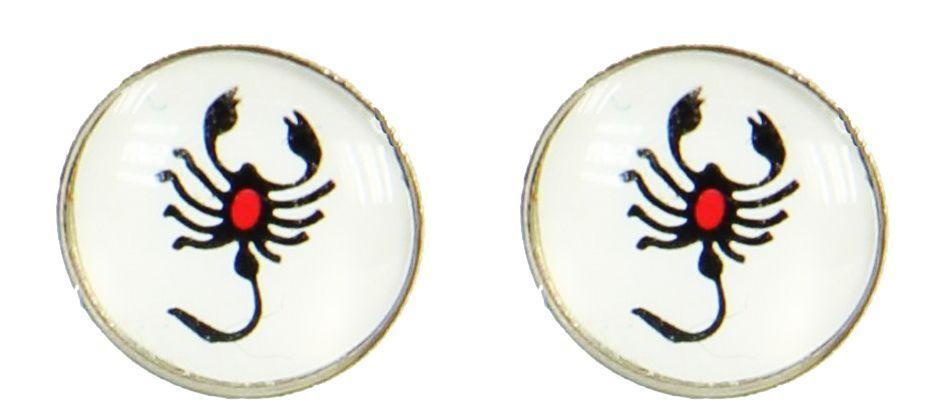 Boucles d\'oreilles clou scorpion noir et rouge 249381