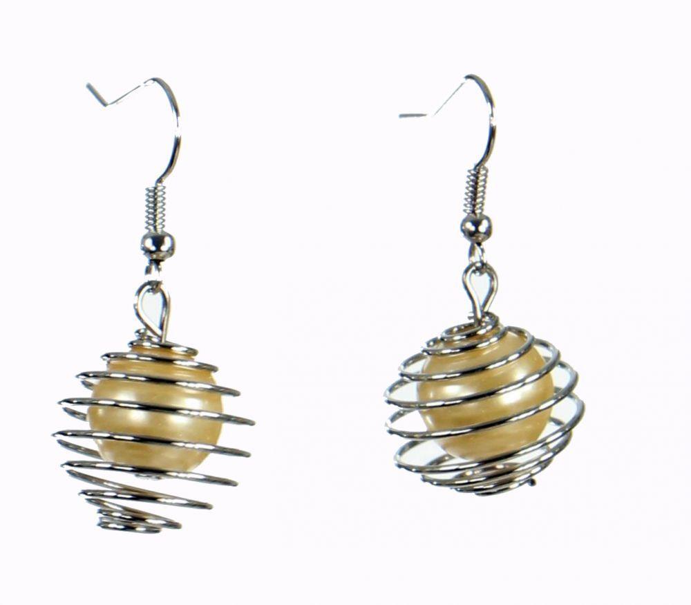 Boucles d'oreilles en acier et verre logo sphère beige 249796