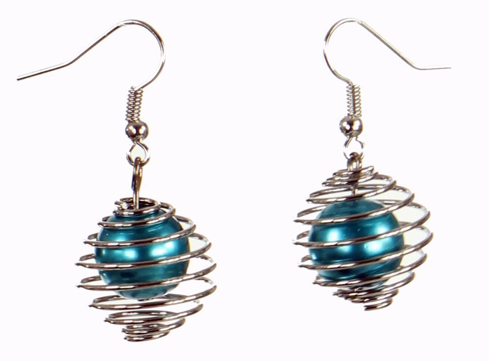 Boucles d'oreilles en acier et verre logo sphère bleue 249801