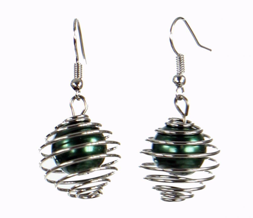 Boucles d'oreilles en acier et verre logo sphère verte 249803