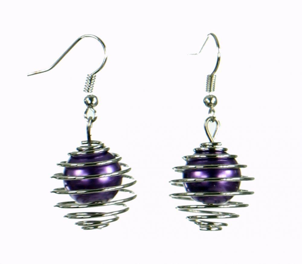Boucles d'oreilles en acier et verre logo sphère violette 249799