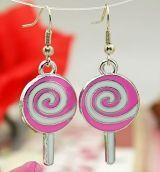 Boucles d'oreilles en acier logo sucette rose 246772