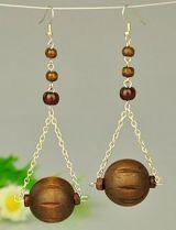 Boucles d'oreilles en bois logo noix de coco 246775