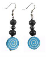 Boucles d'oreilles en bois spirale colorée bleue n°16 304081
