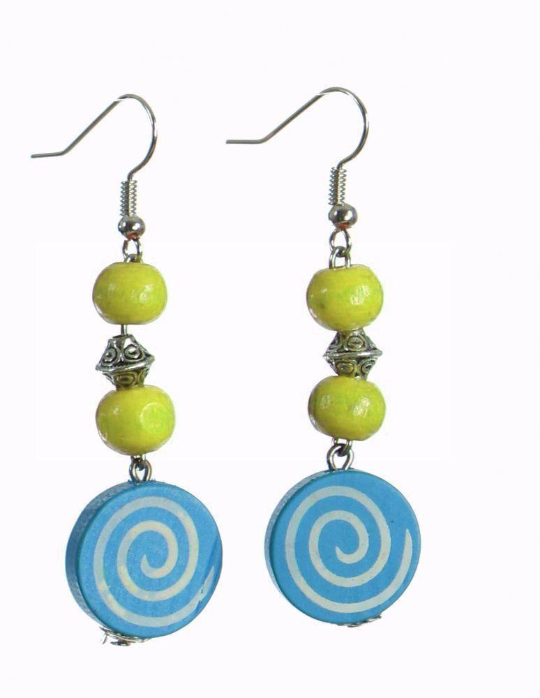 Boucles d'oreilles en bois spirale colorée bleue n°22 304083