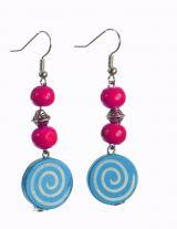 Boucles d\'oreilles en bois spirale colorée bleue n°91