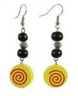 Boucles d'oreilles en bois spirale colorée jaune n°5 247011
