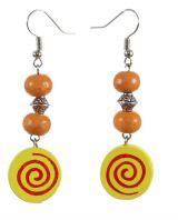 Boucles d\'oreilles en bois spirale colorée n°1
