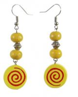 Boucles d\'oreilles en bois spirale colorée n°11 247017