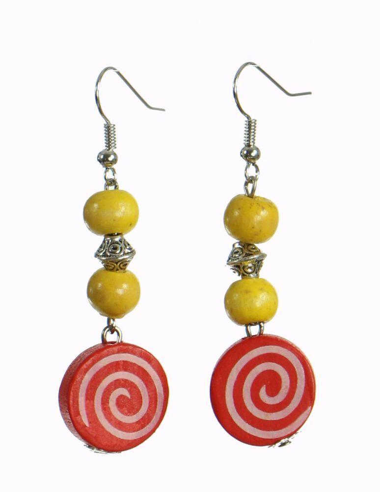 Boucles d\'oreilles en bois spirale colorée n°17 249961