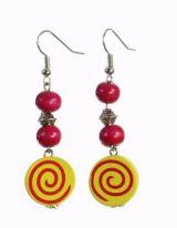 Boucles d\'oreilles en bois spirale colorée n°18 249962
