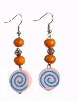 Boucles d\'oreilles en bois spirale colorée n°3