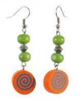 Boucles d'oreilles en bois spirale colorée orange n°7 247013