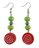Boucles d'oreilles en bois spirale colorée rouge n°13 247019