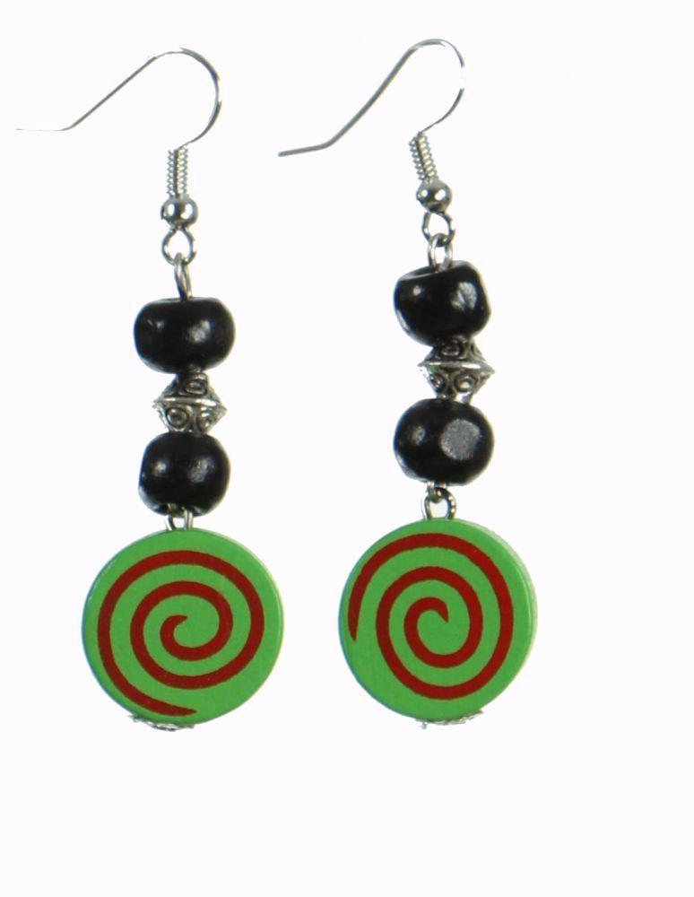 Boucles d'oreilles en bois spirale colorée verte n°14 249958