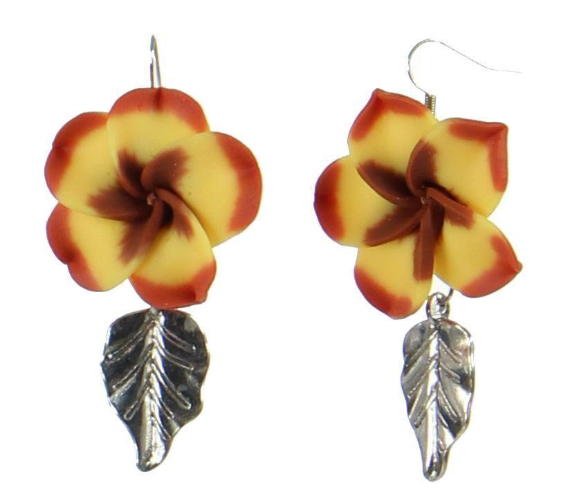 Boucles d\'oreilles en fimo fleur de tiaré 247659