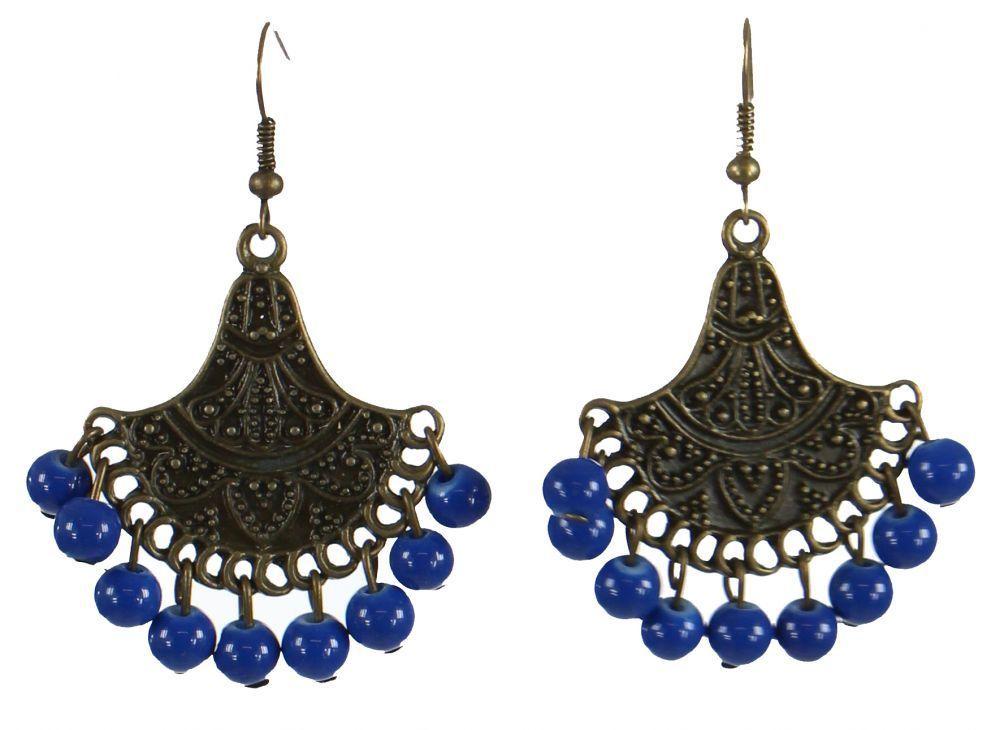 Boucles d'oreilles éventail bleue n°1 247352