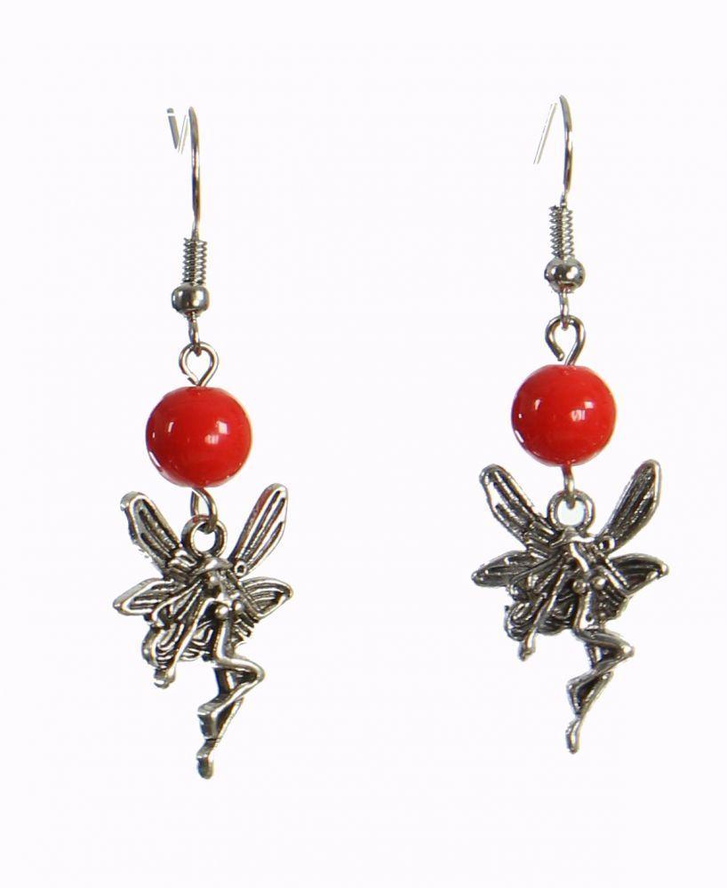 Boucles d\'oreilles féerique rouge 249965