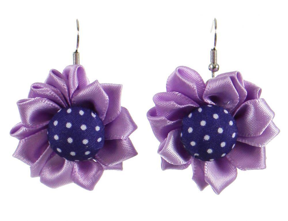 Boucles d\'oreilles fleur violette en tissus 247024