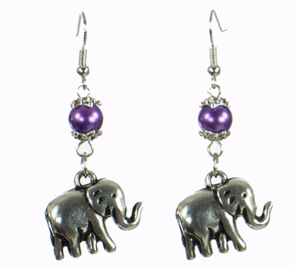 Boucles d'oreilles motif éléphant rilac Violette 249805