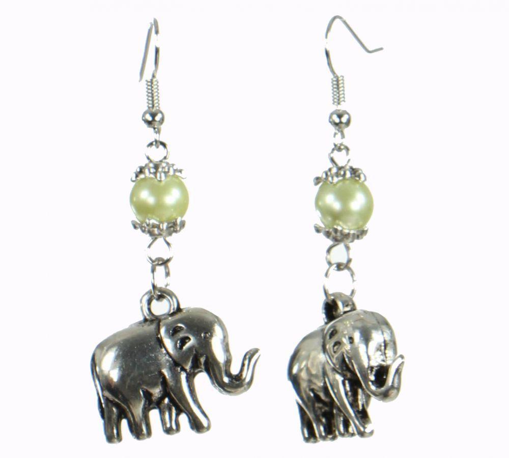 Boucles d'oreilles motifs éléphant ploumiks Beige 249819
