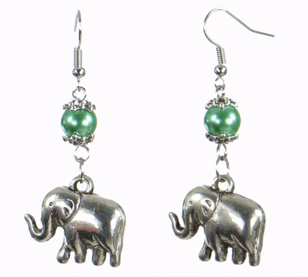Boucles d'oreilles motifs éléphant rils Verte 249818