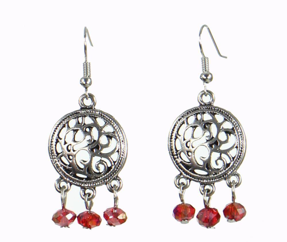 Boucles d\'oreilles originales kabany rouge 249844